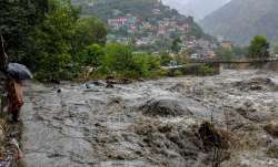 <p>A swollen Beas river flows...- IndiaTV Paisa