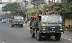 Guwahati: Indian army conduct flag march on the second day of curfew imposed by authorities- India TV Paisa