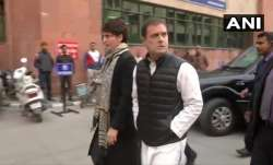 Congress leaders Priyanka Gandhi Vadra and Rahul Gandhi arrive at National Human Rights Commission (- India TV Paisa