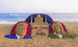 Sand sculpture on US President Donald Trump with First...- India TV Paisa