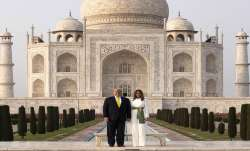 President Donald Trump along with first lady Melania Trump poses for photographs at the Taj Mahal- India TV Paisa