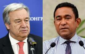 Antonio Guterres and Abdulla Yameen | AP Photo- Khabar IndiaTV