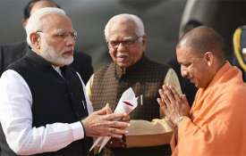 Narendra Modi, Ram Naik and Yogi Adityanath | PTI Photo- Khabar IndiaTV