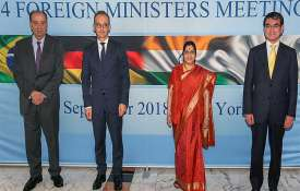 Aloysio Nunes Ferreira, Heiko Maas, Sushma Swaraj and Taro Kono during the G4 Foreign Ministers Meet- India TV