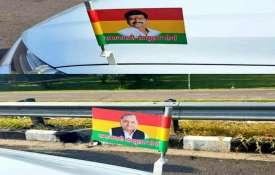 समाजवादी सेक्युलर मोर्चे का झंडा आया सामने, लाल, पीले और हरे रंग पर मुलायम-शिवपाल की तस्वीर- India TV