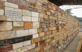 A wall of bricks bearing 'Shri Ram' chants seen at...- India TV