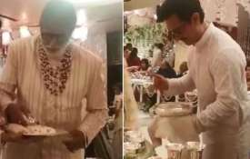 Amitabh Bachchan, Aamir Khan serving food at Isha Ambani wedding- India TV