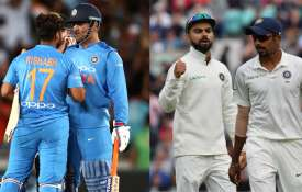 Rishabh pant and MS Dhoni (Left) jasprit bumrah And Virat Kohli (Right)- India TV