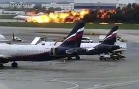 Russian plane burst into flames at Sheremetyevo airport   AP- India TV