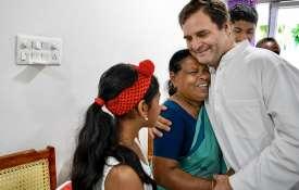 Rahul Gandhi meets Rajamma, who was his delivery nurse in hospital.- India TV