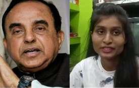 Subramanian Swamy and Richa Bharti   PTI/ANI- India TV