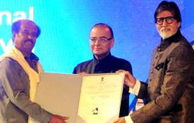 Amitabh Bachchan and Rajinikanth with Arun Jaitley - India TV