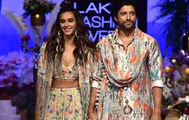 Farhan Akhtar and Shibani Dandekar at Lakme Fashion Week 2019- India TV