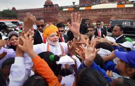 Independence Day: PM Narendra Modi meets school children after Independence Day speech | PTI- India TV