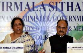 Union Finance Minister Nirmala Sitharaman with UIDAI CEO Ajay Bhushan Pandey during a press conferen- India TV