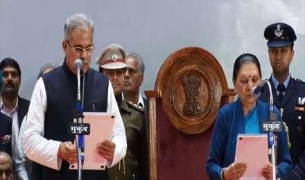 भूपेश बघेल बने छत्तीसगढ़ के तीसरे मुख्यमंत्री, ताम्रध्वज साहू और टी एस सिंहदेव ने ली मंत्री पद की शपथ