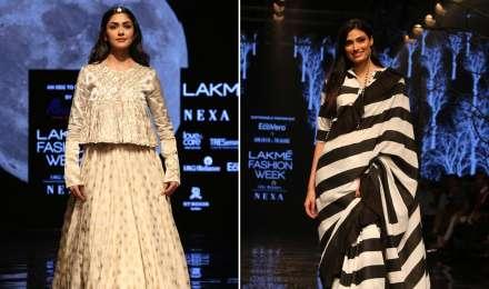 Lakme Fashion Week 2019: मृणाल ठाकुर और अथिया शेट्टी ने अपने लुक से रैंप पर मचाया धमाल, देखें तस्वीरें