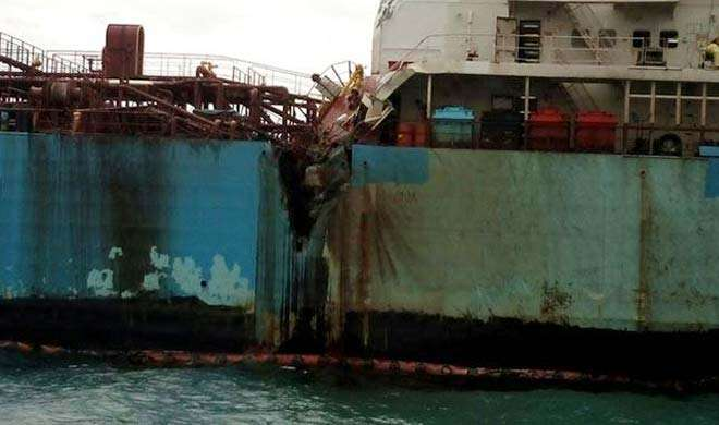 बंगाल की खाड़ी में 2 जहाजों में टक्कर, 20 टन तेल समुद्र में रिसे