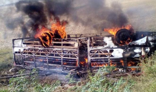 यूपी: बांदा में हाई टेंशन लाइन से टकराई बस, 4 की मौत, 25 घायल