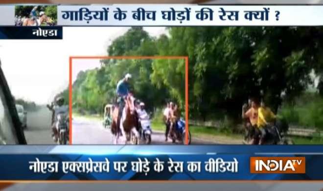 VIDEO: नोएडा एक्प्रेस वे लगी दो घुड़सावरों में रेस, पुलिस ने दिए जांच के आदेश