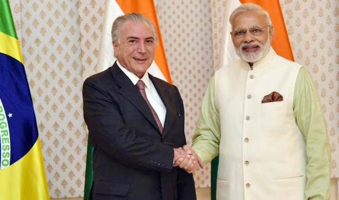 प्रधानमंत्री नरेंद्र मोदी ने ब्राजील के राष्ट्रपति के साथ बैठक की - India TV