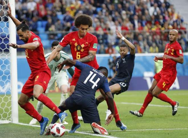 Image result for फ्रांस बेल्जियम हेडर से गोल