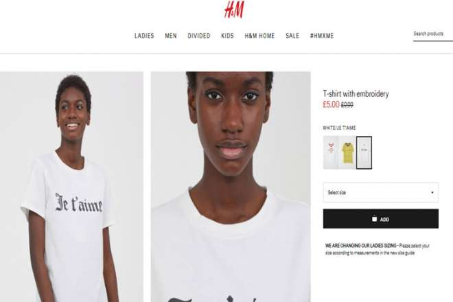 H&M T-shirt with embroidery
