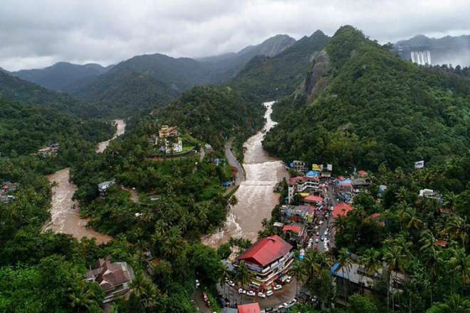 An aerial view of the flood-hit areas of the state of Kerala