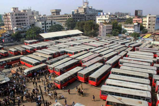 A view of a bus depot during the Bharat Bandh, called by Congress and other parties against fuel price hike and depreciation of the rupee, in Nagpur, Maharashtra