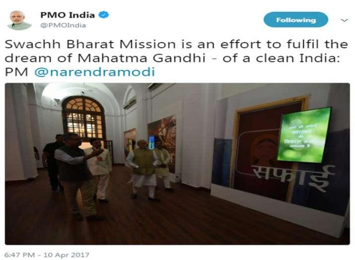 स्वच्छ भारत अभियान को लेकर पीएमओ इंडिया द्वारा किया गया एक ट्वीट