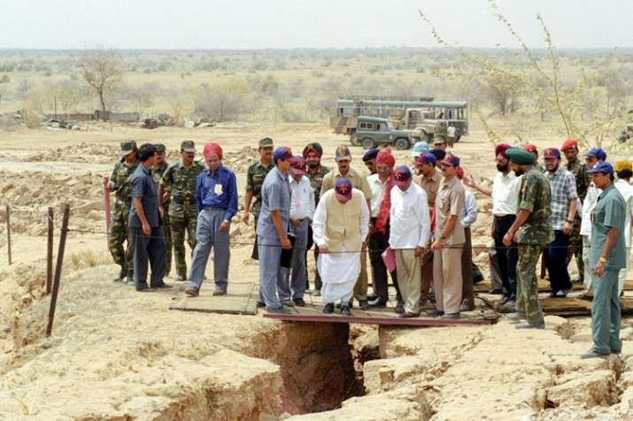 former prime minister Atal Bihari Vajpayee visits the nuclear test site in Pokhran