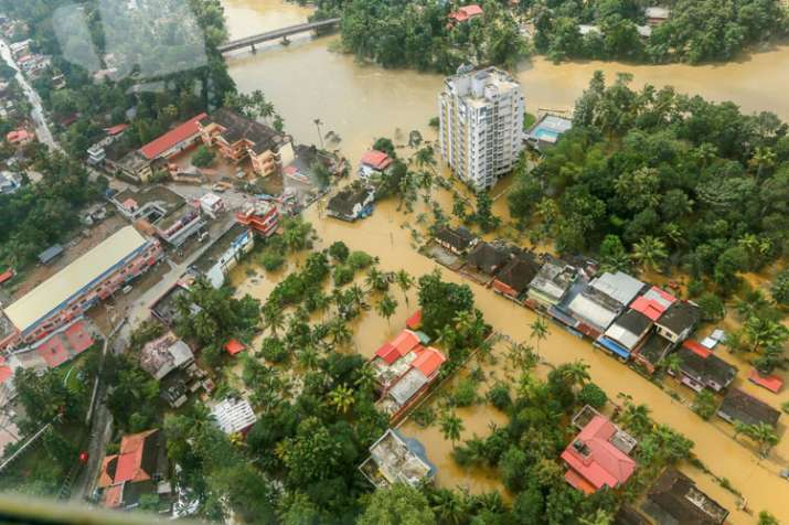 Flood affected areas of Chengannur seen from a Indian Navy helicopter, at Alappuzha district of the Kerala