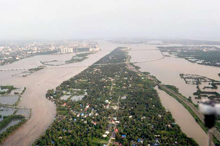 Aluva: An aeriel view of the floods in Aluva after heavy rains, in Kerala
