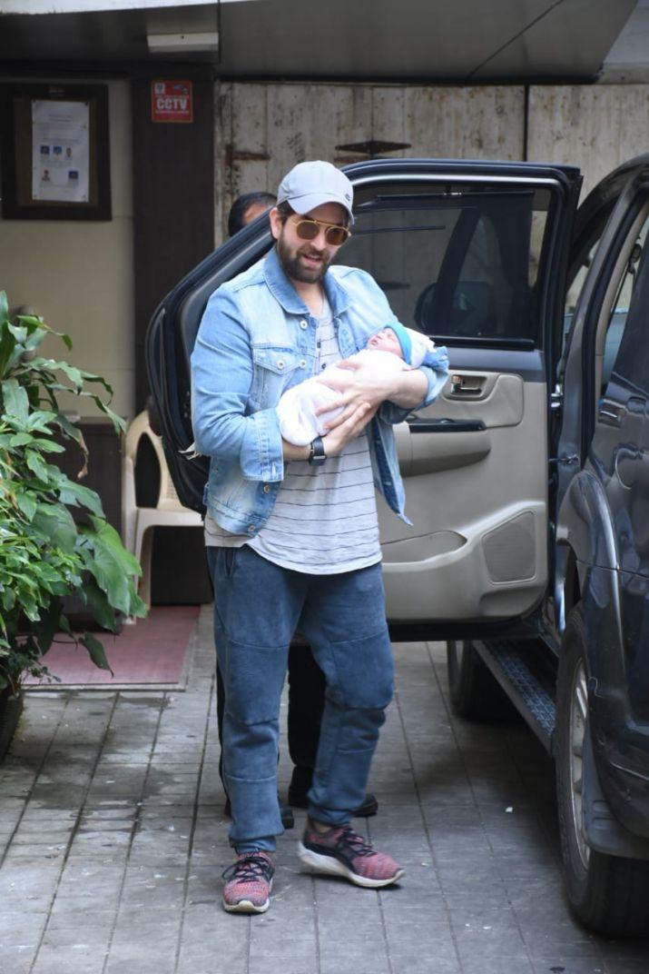 Neil Nitin Mukesh with baby girl Nurvi