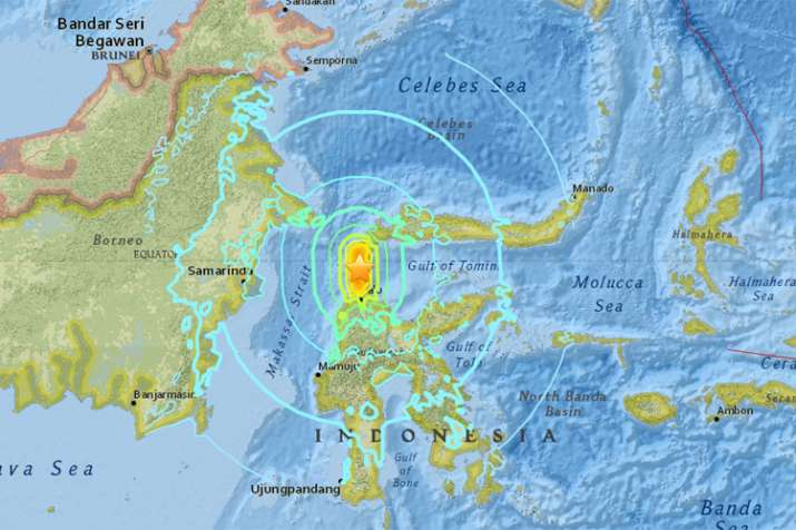 सुनामी से प्रभावित इलाके | Image Source | USGS