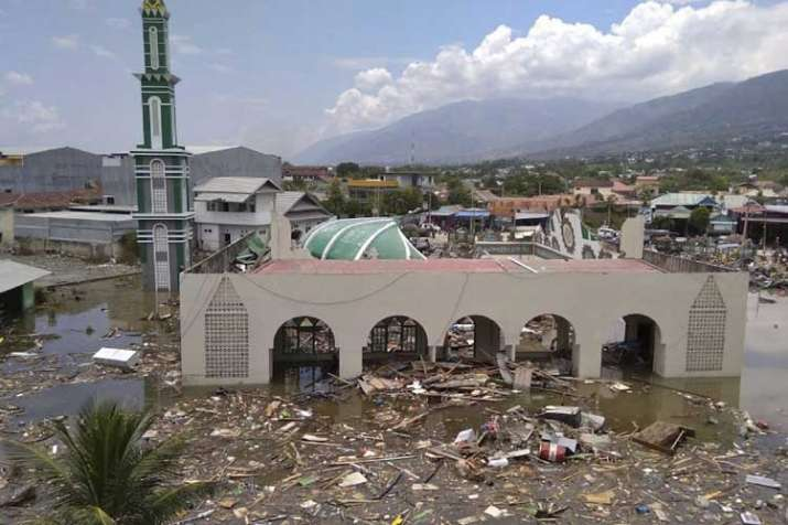 The ruin of a mosque badly damaged by earthquake and tsunami is seen in Palu, Central Sulawesi, Indonesia