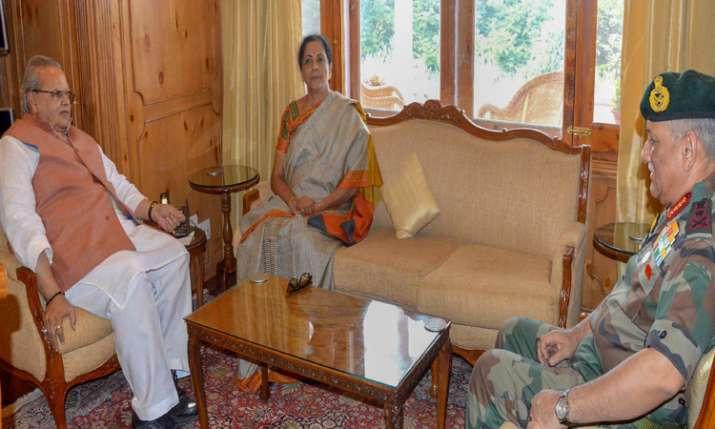 Union Defence Minister Nirmala Sitharaman with Army Chief Gen. Bipin Rawat and Jammu and Kashmir Governor Satya Pal Malik at Raj Bhavan, in Srinagar