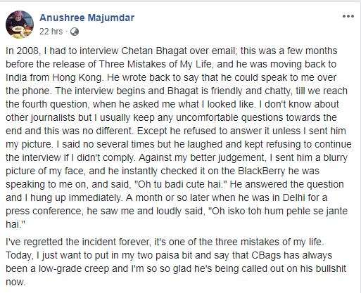 Sexual Harassment allegation against Chetan Bhagat