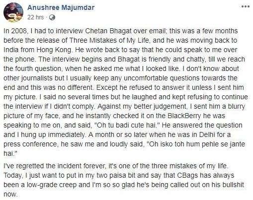 Sexual Harassment allegation against Chetan Bhagat