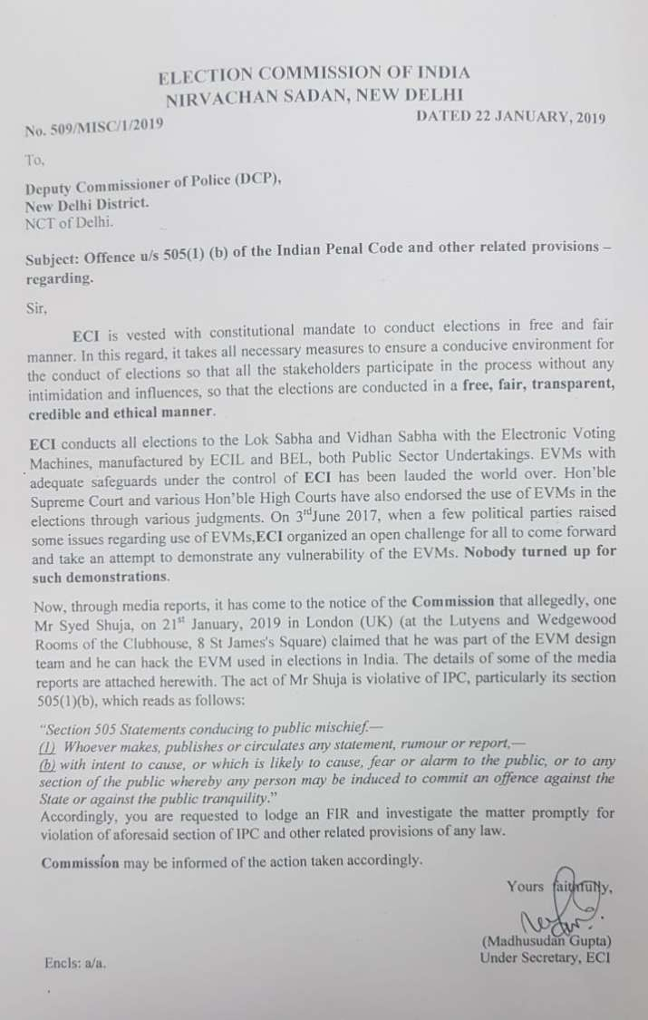 Election Commission letter to Delhi Police