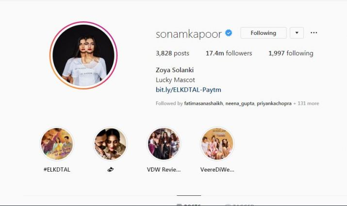 screenshot of sonam kapoor instagram profile