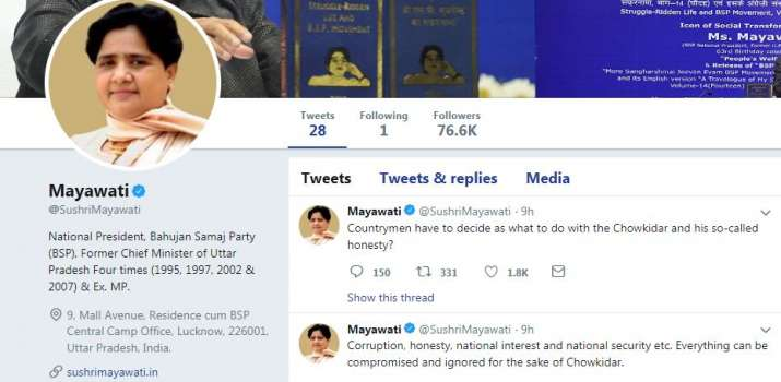 Official twitter account of Mayawati