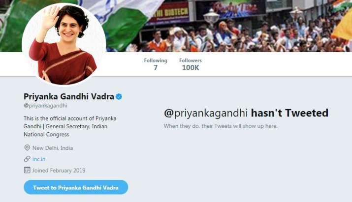 Official twitter account of Priyanka Gandhi