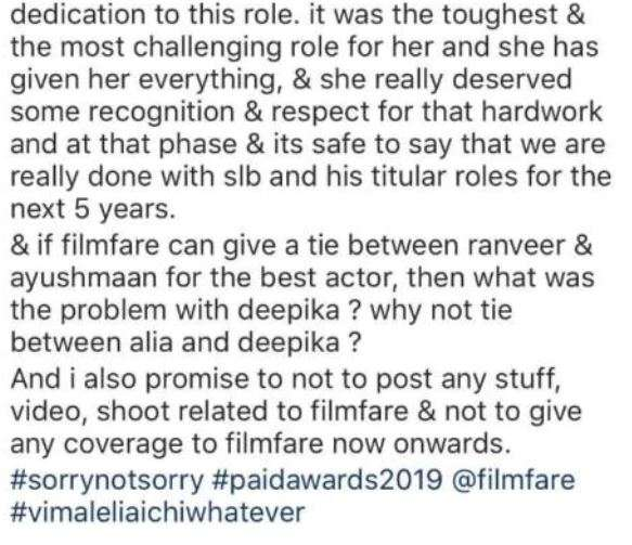 Deepika Padukone's fanpage post