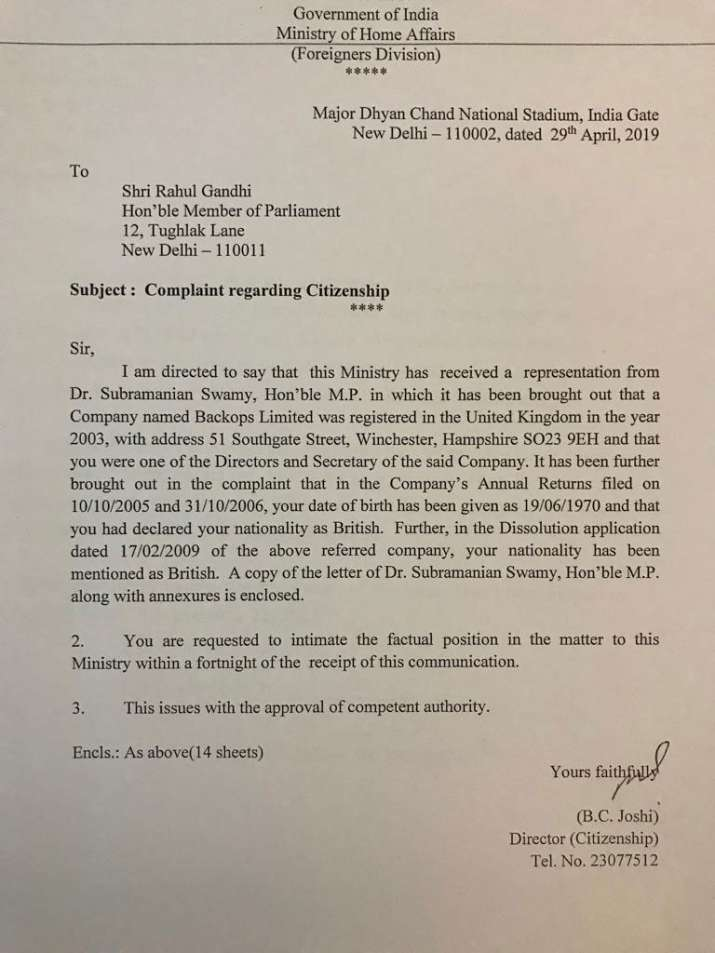 Rahul Gandhi Notice