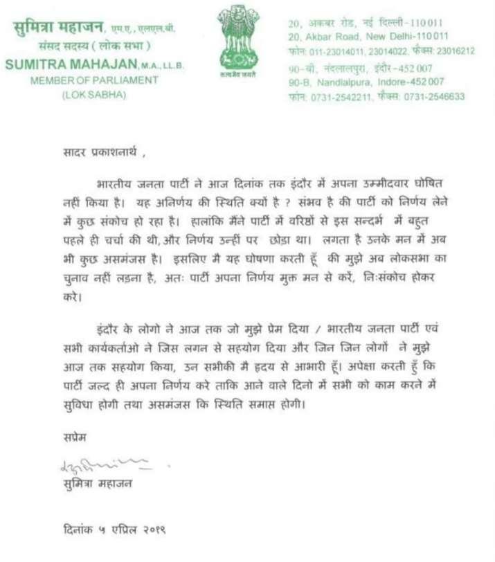 Upset Sumitra Mahajan not to contest Lok Sabha Election