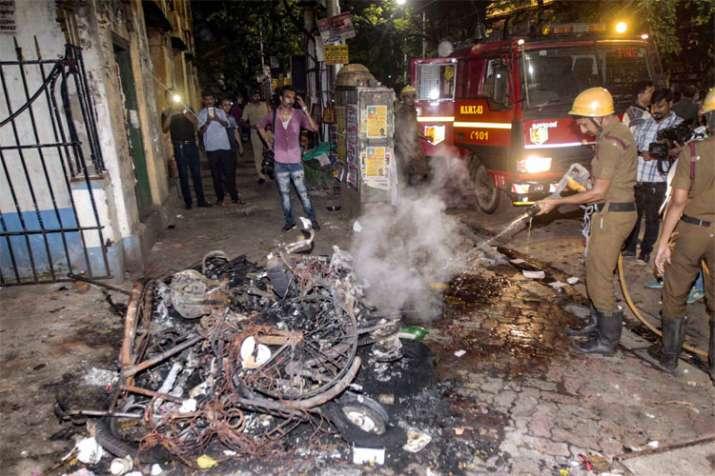 Burnt Vehicles during BJP National President Amit Shah roadshow in Kolkata