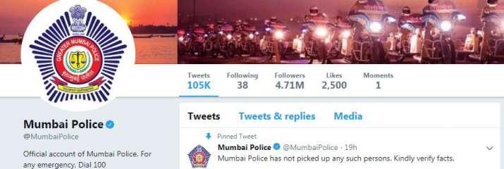Screenshot of mumbai police Tweet