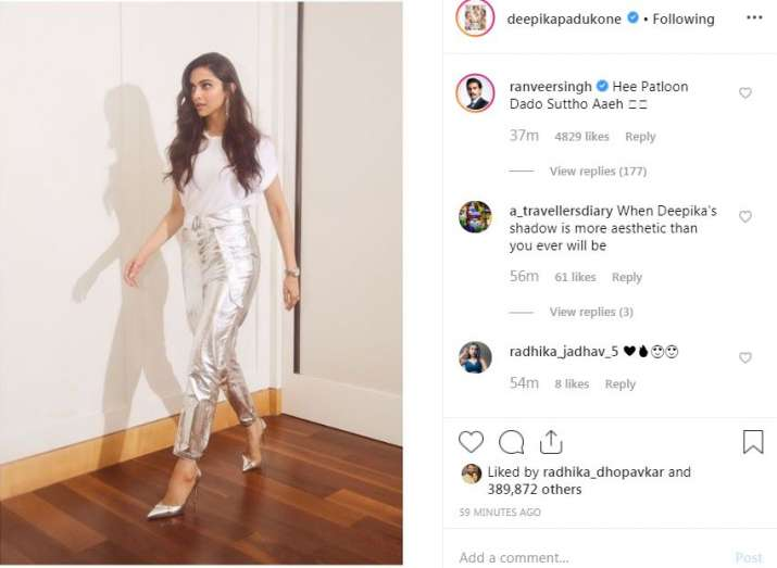 Ranveer Singh's comment on Deepika Padukone's picture