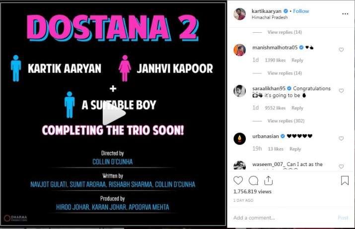 Screenshot of Kartik aaryan instagram post